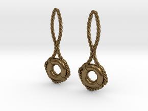 Lifebuoy earrings in Natural Bronze