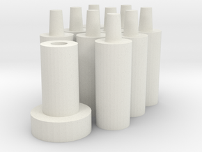 Short pegs with bomber base plug in White Natural Versatile Plastic