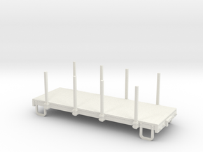 On30 16ft flat car - with stakes in White Natural Versatile Plastic