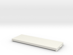 On30 16ft flat car - basic in White Natural Versatile Plastic