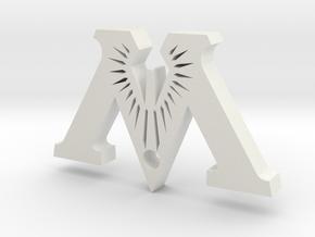 """Badge """"M"""" (Exhibition) in White Natural Versatile Plastic"""