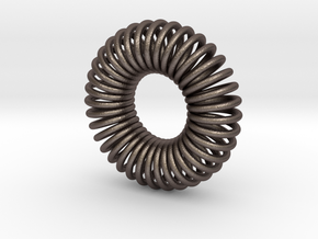 Torus Pendant 30mm in Polished Bronzed Silver Steel