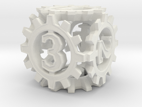 D6 Gear Type 1-(Steampunk/Cog Tinge) in White Natural Versatile Plastic