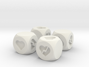Hearts Fudge Dice SOLID (x4) Fate dF in White Natural Versatile Plastic