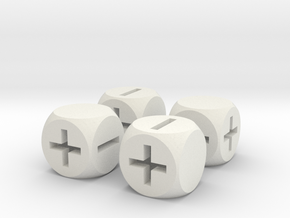 Basic Fudge Dice HOLLOW (x4) Fate dF in White Natural Versatile Plastic