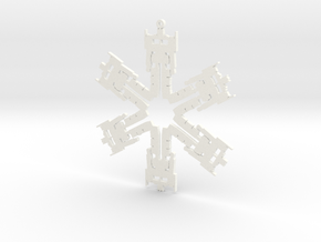 Snowflake Optimus Prime Ornament  in White Strong & Flexible Polished