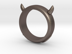 Devilish Ring - Size 12 in Polished Bronzed Silver Steel