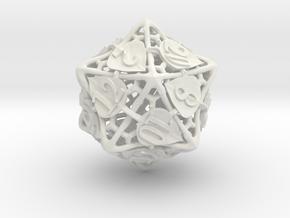 Botanical d20 (Aspen) in White Natural Versatile Plastic
