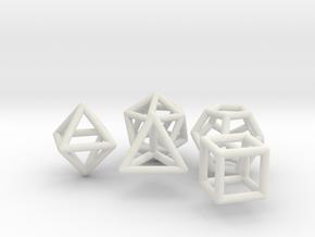 Platonic Solids Set in White Natural Versatile Plastic