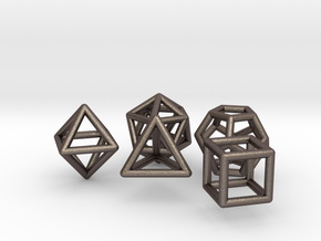 Platonic Solids Set in Polished Bronzed Silver Steel