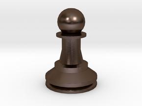Large Staunton Pawn Chesspiece in Polished Bronze Steel