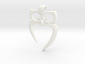 Owl Heart Pendant in White Processed Versatile Plastic