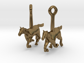 Horse (without Jockey) Earrings in Natural Bronze