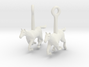 Horse (without Jockey) Earrings in White Natural Versatile Plastic