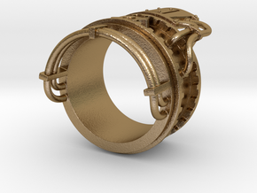 Steampower ring v2 in Polished Gold Steel