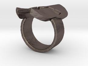 Spartan Helmet Ring in Polished Bronzed Silver Steel