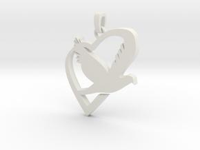 Love & Peace Pendant in White Natural Versatile Plastic
