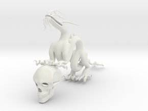"""5"""" Chinese Dragon With Human Skull Pose1 in White Natural Versatile Plastic"""