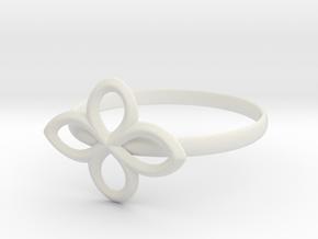 Flower Ring in White Natural Versatile Plastic