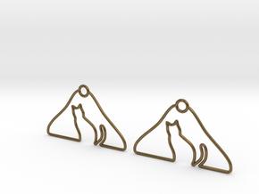 Cat Hanger Earrings in Natural Bronze