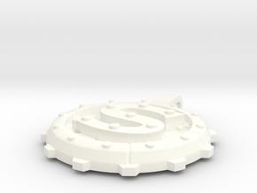 """Steampunk Monogram Pendant """"S"""" in White Processed Versatile Plastic"""