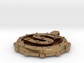 "Steampunk Monogram Pendant ""S"" in Natural Brass"