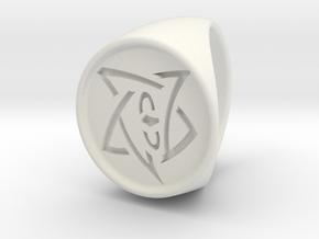 Elder Sign Signet Ring Size 8.5  in White Natural Versatile Plastic