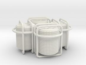 4x Round small choc tire valve caps in White Natural Versatile Plastic