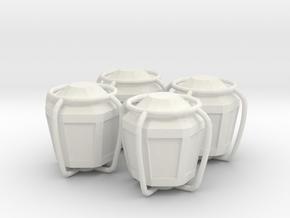 4x Lantern tire valve cap in White Natural Versatile Plastic
