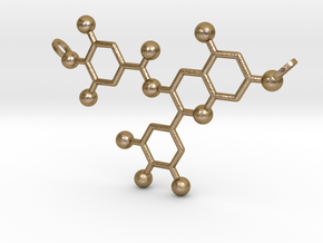 Green Tea Molecule in Polished Gold Steel
