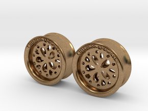 1 Inch Flower Cut Out Plug in Natural Brass