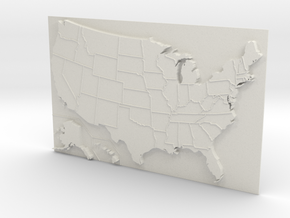USA Map 180mm in White Natural Versatile Plastic