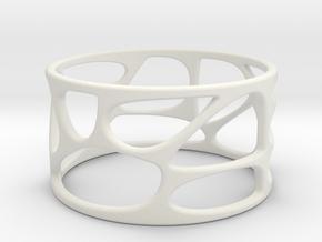 VoronoiRing001 sz12 stl in White Strong & Flexible