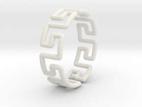 Greek Ring in White Natural Versatile Plastic