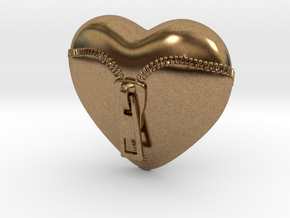 Leather Zipped Heart Pendant in Natural Brass