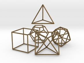 5 Platonic Solids - 35mm in Natural Bronze