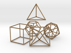 5 Platonic Solids - 35mm in Natural Brass