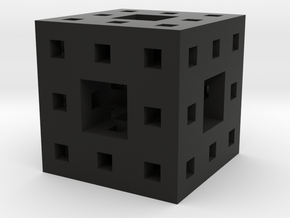 Itty Bitty Menger Sponge Pendant/Charm/Sculpture in Black Natural Versatile Plastic