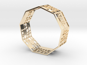 SPSS Bracelet (9 differently dissected squares) in 14K Yellow Gold