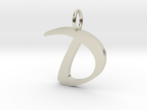 Classic Script Initial Pendant Letter D. in 14k White Gold