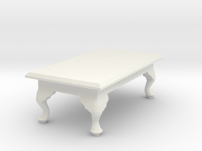 1:24 Queen Anne Coffee Table, Rectangular in White Natural Versatile Plastic