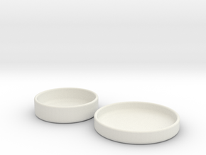 Petri Dish and Lid 60mm in White Natural Versatile Plastic
