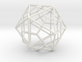 IcosoDodeca Wire Thin - 4cm in White Natural Versatile Plastic