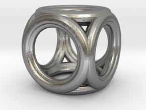 Mini cube pendant in Natural Silver