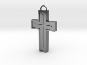Silver Cross in Fine Detail Polished Silver