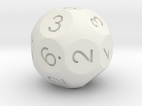 D18 numbered like a D6 in White Natural Versatile Plastic