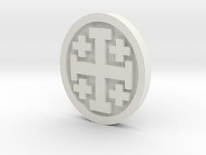 Crusader Cross Lapel in White Natural Versatile Plastic