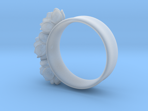Tiny 3 Rose ring (plastic print only - no silver) in Smooth Fine Detail Plastic