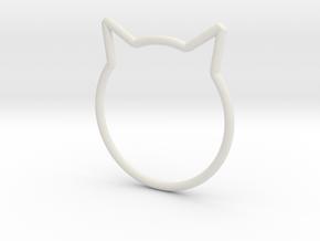 "Cat Ear Ring ""Büsi"" in White Natural Versatile Plastic"