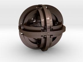 Geometric Pendant 30mm D2 in Polished Bronze Steel